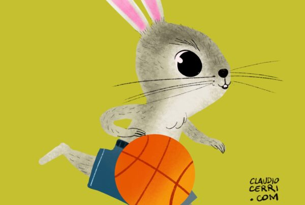 rabbit plays basketball
