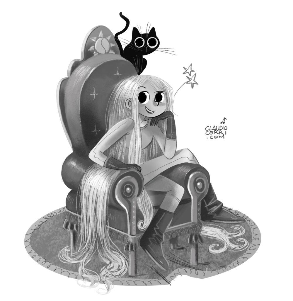 girl with cat Claudio Cerri